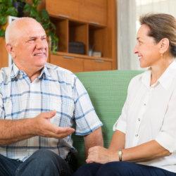 caregiver and patient having a conversation